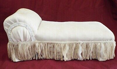 "Antique 16"" SALESMAN SAMPLE or DOLLS  Miniature FAINTING COUCH w/ Wooden Base"