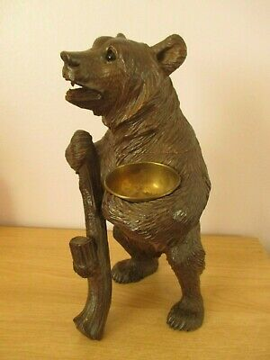 """Large 12"""" Black Forest Standing Bear Hiking Tobacco Jar Swiss Wood Carving"""