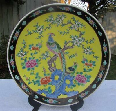 "Large 14"" Japanese Antique Meiji Famille Rose Charger - Polychrome Decoration"