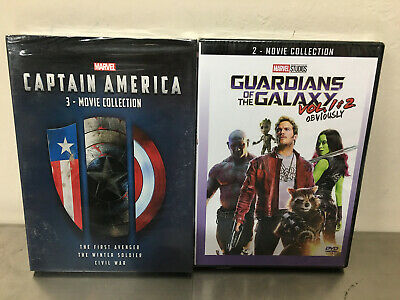 Marvel Captain America 1 2 3 DVD 3 Movie Collection & Guardians of Galaxy 12 US