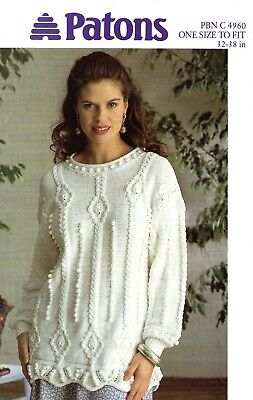 Knitting Pattern For Ladies Fashionable Bobble Jumper Sweater Dk 30