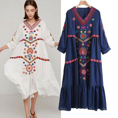 Women Vintage Ethnic Mexican Embroidered Cotton Linen Long Boho Loose Dress Chic