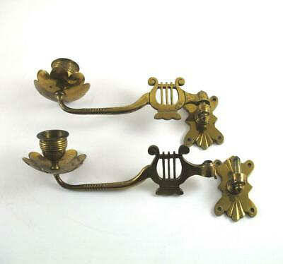 1889 Antique Brass Piano Sconce Candle Holder Lyre Harp Swivel Back Plate