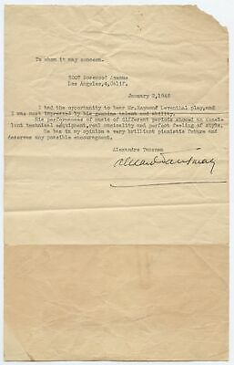 Alexandre TANSMAN (Composer): Signed Reference for Raymond LEWENTHAL (Pianist)
