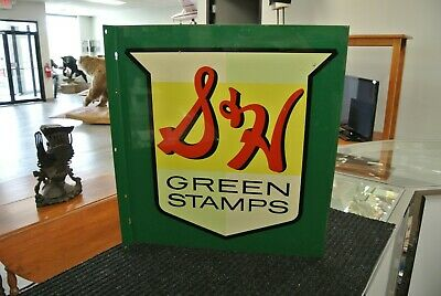 S & H Green Stamps Metal Flange Sign 1952 Excellent Cond