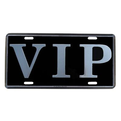 VIP Black Mirrored Embossed Aluminum License Plate US Made Car Truck Auto Tag