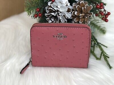 COACH Small Zip Around Wallet Strawberry/Silver F67606 New with tags