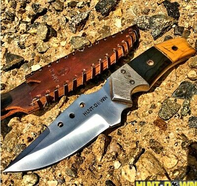 "Hunt Down 9"" Fixed Blade Hunting Survival Knife Full Tang Horn Handle Drop Point"