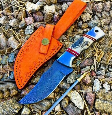 """TheBoneEdge 9"""" Bowie Fixed Damascus Blade Hunting Survival Knife w/Stag Handle"""