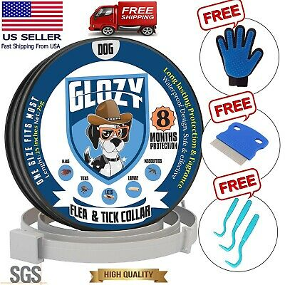 "GLOZY Flea and Tick Collar for Large Dogs Up to 25"" 8 Month Protection Safe"