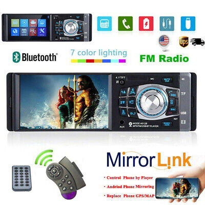 "Single 1 DIN 4.1"" Car Radio Stereo Video MP5 Player Bluetooth FM AUX USB SD US"