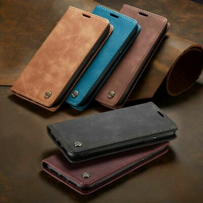 For iPhone Genuine Deluxe Leather Wallet Magnetic Buckle Case Flip Cover Stand
