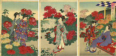 "CHIKANOBU Japanese ukiyo-e woodblock print  ""BEAUTIES IN A CHRYSANTHEMUM GARDEN"""