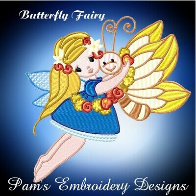 BUTTERFLY FAIRY 10 MACHINE EMBROIDERY DESIGNS CD or USB
