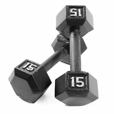 Barbell Cast Iron Hex Dumbbell Weights (Pair), Black, 15 lb NEW