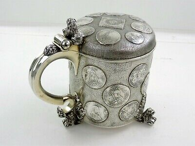 OUTSTANDING Huge German 4 pint SILVER COIN PEG TANKARD 16th & 17th century coins