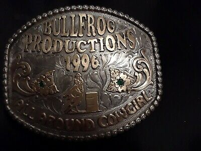 Belt Buckle 1996 bulldog production all around cowgirl Trophy with gems