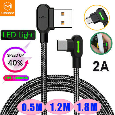 MCDODO 2A LED 90° Elbow L Shape USB TypeC Cable Fast Charger Charging Data Cable