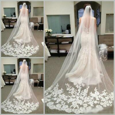 Graceful White Ivory 1T Cathedral Edge Lace Bridal Wedding Veil With Comb