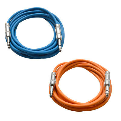 """2 Pack of 1/4"""" TRS Patch Cables 10' Extension Cords Jumper 3 Pin Various Colors"""