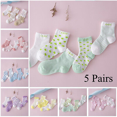 5 Pairs NewBorn Infant Toddler Kids Soft Sock Baby Boy Girl Cartoon Cotton Socks