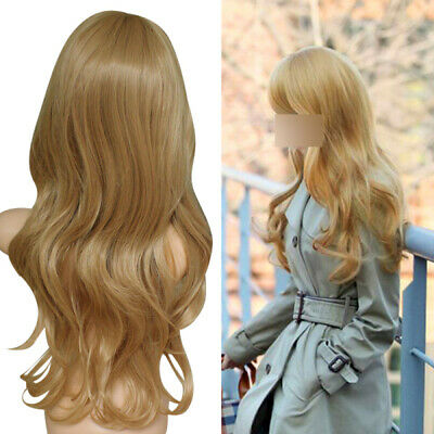 Light Golden Curly Lady Long Sexy Blonde Wavy Party Hair Cosplay Hairpiece Wig