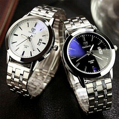 Fashion Mens Luxury Date Stainless Steel Band Quartz Sport Analog Wrist Watch