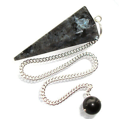 Larvikite Blue Pearl Granite Point Dowsing Pendulum Polished Crystal
