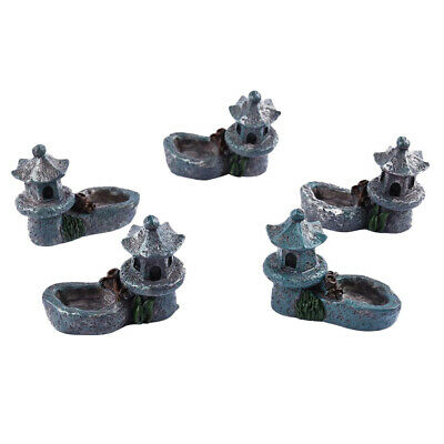 5pc DIY Mini Miniature Fairy Garden Ornament Tower Blue Dollhouse Accessory