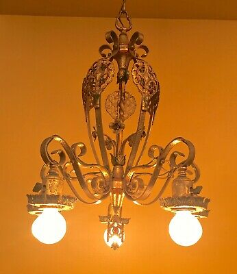 Vintage Lighting 1920s polychrome chandelier. Striking!