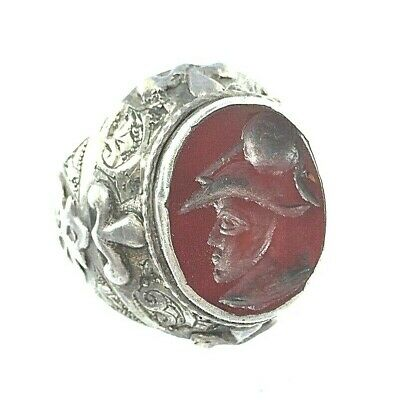 ring silver rare antique carne stone intaglio ancient roman king face seal no r3