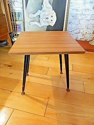 Retro Mid Century Small Wood Effect Coffee/Lamp Table Dansette Legs