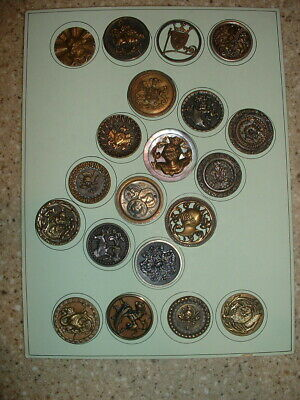 FRAMED 20 Large Vintage BRASS Picture Buttons Pierced Stamped Steel Cuts MOP