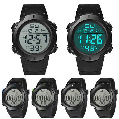 JT_ HONHX Men's Silicone LCD Digital Date Rubber Band Sport Wrist Watch Gift E