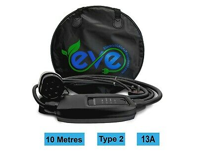 EV Charging Cable, Renault Zoe, TYPE 2, UK 3 pin plug 10m charger