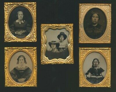 Lot of 5 Antique 1/9th Plate Clear Glass Ambrotype Photographs Victorian Women