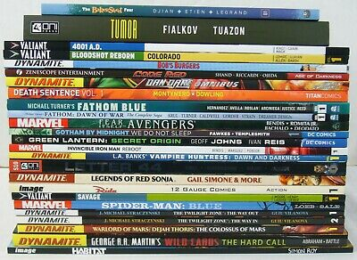 Wholesale lot of (25) TPBs - marvel/dc/more  spider-man blue - (value: $391.77)1