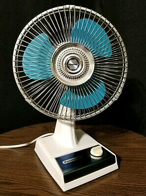 Vintage Panasonic Oscillating Desk Fan F-9100 Blue 9 Inch Blade Japan 2 Speed