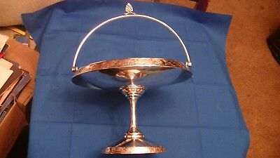Antique Silverplate Brides Basket Serving Dish Bowl Holloware Lion Deer Bird