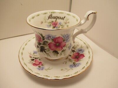 "Royal Albert Engl China Demitasse Cup & Saucer Flower Of Month 'Poppy"" August"
