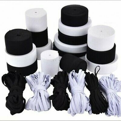 Elastic Band 10 mm Black & White Flat, Grey Oval/Semi-Circle  5 mm for Sewing