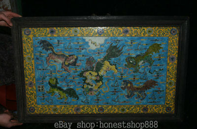 """32"""" Old Chinese Wood Inlay colour enamels Porcelain Dynasty 5 Lion Beast Mural"""