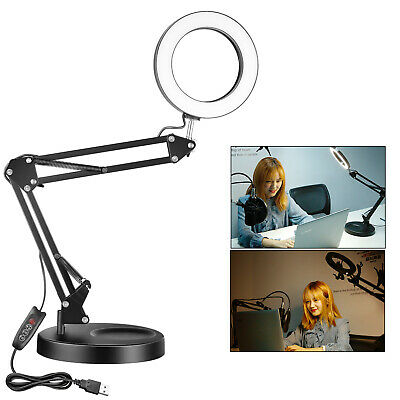 6-inch LED Desk Ring Light Eye-caring Book Reading Light with USB Output Port