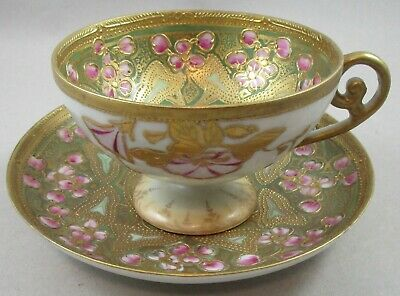 Antique Japanese Satsuma Raised Gold and Pink Flowers Cup and Saucer