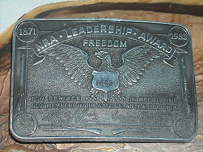 VINTAGE limited ed 1983 NRA leadership award buckle nat rifle assoc freedom