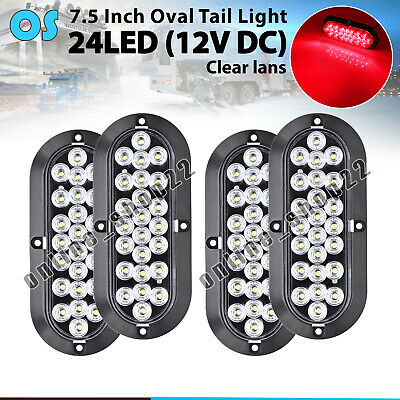 "4X 24 LED Clear / Red 6"" Oval Parking Brake Truck ATV Tail Light ABS Housing 12V"