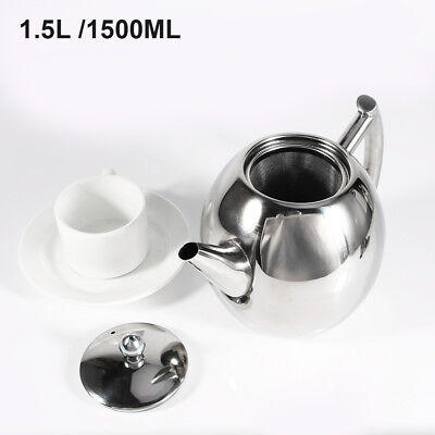 1.5L Stainless Steel Teapot Tea Pot Coffee Kettle With Tea Leaf Strainer Durable