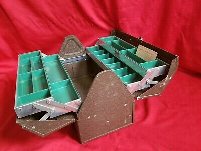 Vintage 50-60s Kennedy Tackle Tool Box Many Compartments