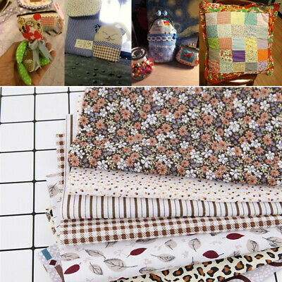7Pc/Set 25*25cm Fabric Cotton Assorted Squares Pre-Cut Quilt Quarters DIY Bundle