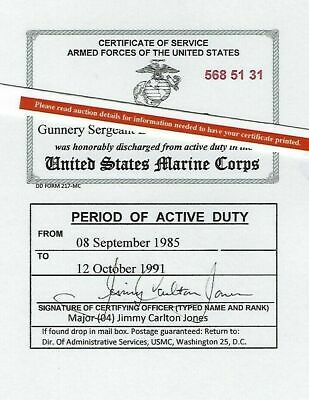 United States Marine Corps or USMC Reserve Honorable Discharge Laminated Card